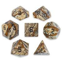 Wiz Dice Handmade Stone Dice, Polyhedral Set of 7, Picture Jasper