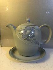 Denby Mandarin Blue Flower Tea Pot And Saucer Superb Condition