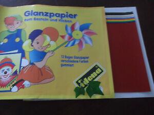 12 Blatt Buntpapier A4 gummiert von idena