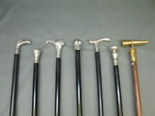Set of 7 wood walking stick Brass Handle silver black Cane compilation Style New