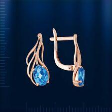 Russian solid rose gold 585 /14k beautiful blue topaz earrings NWT
