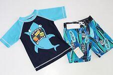 Gymboree Baby Boys Shark Rash Guard Top Trunks Shorts Size 2T NEW NWT Surf