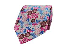Mens Pink Blue Floral Paisley Tie  Wedding Paisley Silk Necktie 5o5
