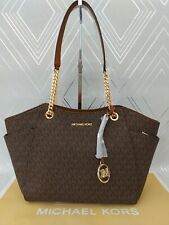 Michael Kors Ladies Large Jet Set Travel Leather Chain Shoulder Tote Bag BNWT