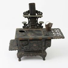 Vtg Eagle Black Cast Iron Stove Small Salesman's Sample Children's Toy 6-Burner