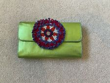 Green Metallic Long Leather Wallet With Multiple Compartments And Beaded Motif