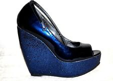 NEW WOMEN'S MADDEN GIRL COUPE GLITTER PLATFORM BLUE PEEP TOE PUMPS SHOES 7.5