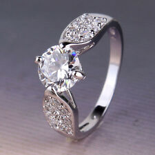 Chic Lady 18k white gold filled artistic white topaz honorable ring Sz5-Sz9