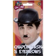 Unisex Fancy Dress Old Felt Bowler Hat Tash & Eyebrows Charlie Chaplin Fun Set