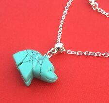 NEW! Dyed Howlite Gemstone Bear Pendant Necklace Turquoise - Aussie Seller!