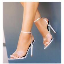 Cape Robbin Silver Pointed Transparent Strap High Sandal