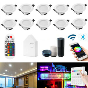 Bluetooth Dimmable RGB+WW+CW LED Downlight Smart Recessed Lights Remote Control