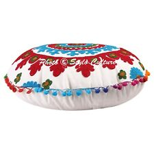 Ethnic Floral Round Embroidered Floor Cushion Cover Couch Pom Pom Cotton 18x18