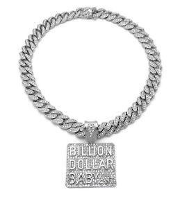 DA BILLION DOLLAR BABY ENT DIAMOND SILVER CUBAN LINK CHAIN NECKLACE HIP HOP ICED
