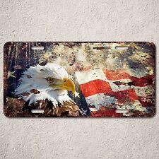 LP0124 American flag Eagle Auto License Plate Rust Vintage Home Store Decor Sign