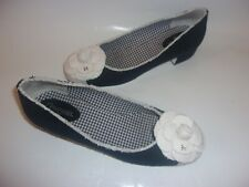 Chanel Camellia Black Fabric Low Heels Shoes 40 9