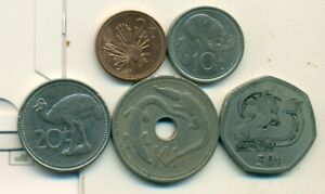 5 DIFFERENT COINS..PAPAU NEW GUINEA..5 DENOMINATIONS..up to 1 KINA w/ CROCODILE