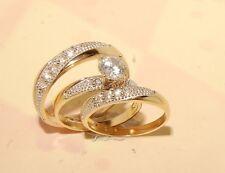 Man's And ladies 14k Yellow  Gold Wedding Band & Engagement Ring Trio Set