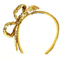 CHANEL 1985 Vintage Metallic Gold Sequined Satin Side Bow Headband