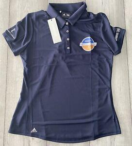 Ladies Golf Adidas Womans Performance Polo Shirt Navy Size Medium BNWT