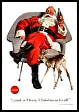 1956 COCA-COLA Christmas AD Santa Claus and Reindeer Fawn with bottle of Coke