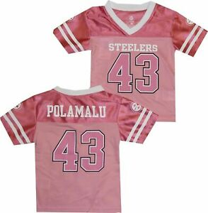 Pittsburgh Steelers NFL Team Apparel Pink Jersey #43 Polamalu (Size: XS)