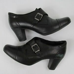 Women's Clarks Bendables 9M Black Leather Ankle Boots Buckle 2.75in Heels