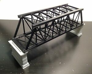 Outland Models Railroad Truss Bridge Black (for Double Track) with Piers Z Scale