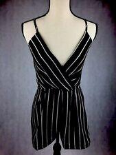 37e6d682260 NWT ZAFUL Size Small Black   White Stripe Zipper Romper Criss Cross Bodice  FS