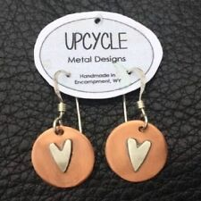 NWT UPCYCLE Metal Designs Handmade Silver Copper Dangle Earrings Jewelry