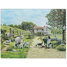 Collie & Sheep Design Glass Worktop Saver Chopping Food Serving Cutting Board
