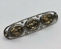 Vintage Brooch Pin Bar Glass Crystal Silver Tone