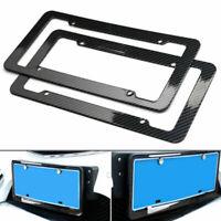 A Pair Universal Black License Plate Frame Black Frames Carbon Fiber Car Cover