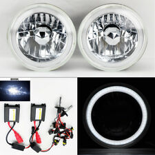 "7"" Round 8K HID Xenon H4 Clear CCFL DRL Glass Headlight Conversion Pair Fiat"