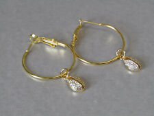 Cubic Zirconia Cowrie Shell Leaver Back Hoop Gold Plated Earrings - Stunning!