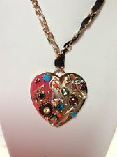 $95 BETSEY JOHNSON Lucky Charms Mixed Multi Charm Heart Pendant Necklace BL 2