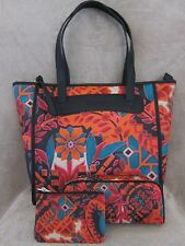 FOSSIL Keyper Shopper Floral Tote & Maching Key Coin Purse & Cosmetic Bag NWT