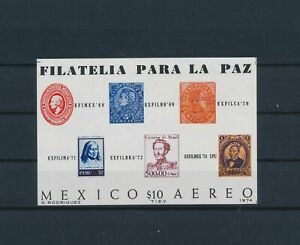 LO40658 Mexico 1974 philatelic exhibition imperf sheet MNH