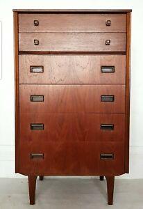 Mid century teak tallboy, retro chest of drawers, vintage dresser, Danish mcm.