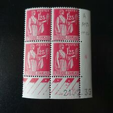 FRANCE TIMBRE TYPE PAIX N°370 COIN DATÉ 21.02.1939 NEUF ** LUXE MNH COTE 25€