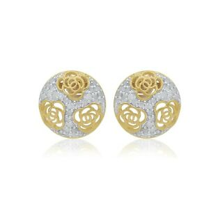 925 Silver 0.61Ct Natural Round Cut Diamond Floral Stud Earring Yellow Gold Over