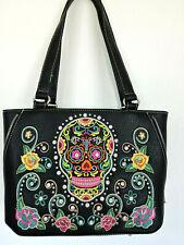 Black w Multi Colored Sugar Skull Montana West  Handbag Shoulder Bag