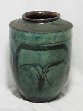 Antique Hand Painted Persian Ceramic Vessel-Aqua, Birds/Nature Motifs