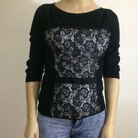 Topshop Black Lace Corset Design 3/4 Sleeve Fine Knit Jumper Top Size 10