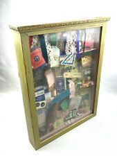 Vintage Haberdashery Sewing Items In Glass Display Case Diorama Collectables
