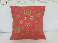 Cushion Cover, John Lewis, Lace Snowflake, Candy Red, Gold, Cotton, Pinkish Red.