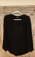 Lucky Brand Womens Size Large Blouse Top Black Long Sleeve Button Down Shirt
