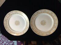 "VINTAGE STETSON  China 22 KT. Gold 10"" Dinner Plates  (2)"