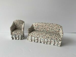 Vintage Wooden Dollhouse Furniture ~ Living Room ~ Floral Sofa Couch and Chair ~