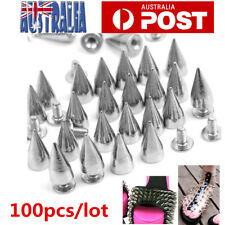 100PCS Silver Metal Studs Rivet Bullet Spike Cone Screw Leather Craft 7X9.5mm